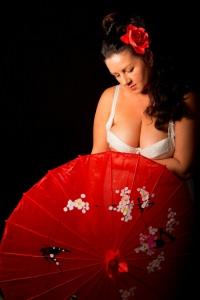 Ella Mature - Red unbrella