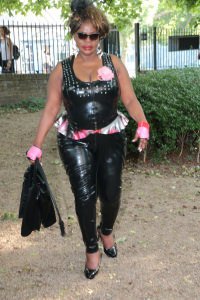 Goddess Dionne - Modelling My latex catsuit in the park